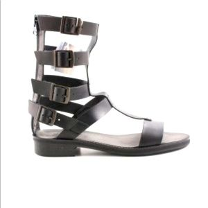 Zara black leather gladiator sandals with buckles